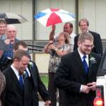 Groomsmen and Bridesmaids enter the limousine